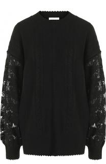 Пуловер фактурной вязки с кружевными рукавами See by Chloé