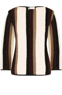 Пуловер с вырезом-лодочка и укороченным рукавом Lanvin