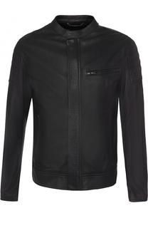 Кожаная куртка на молнии с воротником-стойкой Dolce & Gabbana