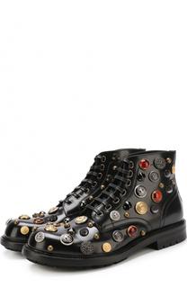 Высокие кожаные ботинки San Pietro с отделкой Dolce & Gabbana
