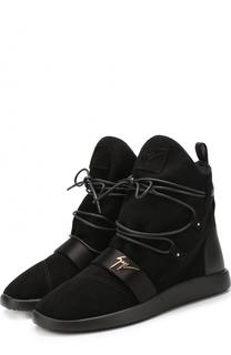 Высокие замшевые кеды на шнуровке с внутренней меховой отделкой Giuseppe Zanotti Design