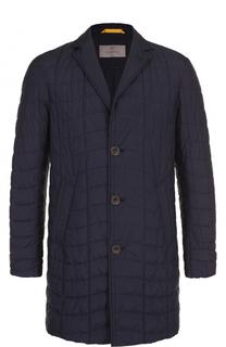 однобортное стеганое пальто с отложным воротником Canali