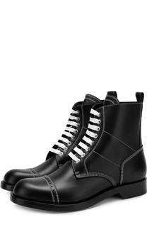 Высокие кожаные ботинки на шнуровке с контрастной прострочкой Loewe