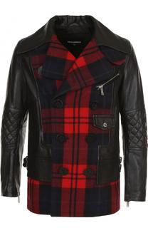Кожаная куртка с шерстяной вставкой Dsquared2