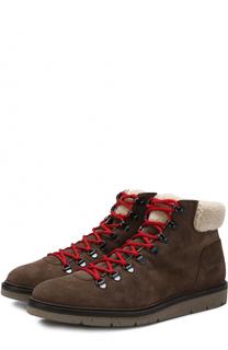 Высокие замшевые ботинки на шнуровке с внутренней меховой отделкой Hogan
