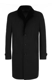 Однобортное кашемировое пальто с меховой отделкой воротника Ermenegildo Zegna