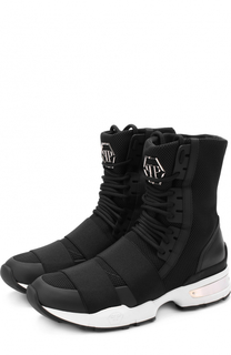 Высокие комбинированные кроссовки на шнуровке Philipp Plein