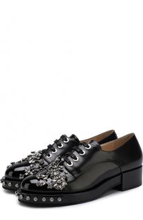 Кожаные ботинки с отделкой кристаллами No. 21