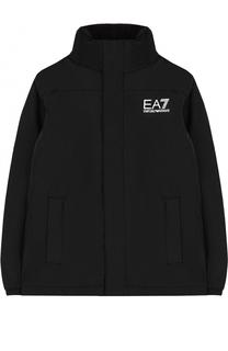 Куртка с воротником-стойкой и логотипом бренда Ea 7