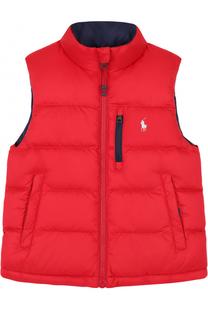 Пуховый жилет с логотипом бренда Polo Ralph Lauren