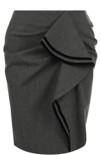 Шерстяная мини-юбка с оборками Tara Jarmon