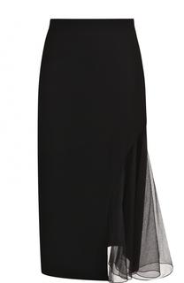 Однотонная юбка-миди с прозрачной вставкой Lanvin