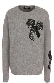 Шерстяной пуловер с круглым вырезом и пайетками Rochas