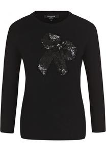 Шерстяной пуловер с укороченный рукавом и пайетками Rochas