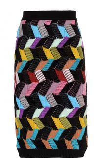 Шерстяная юбка-миди фактурной вязки Missoni