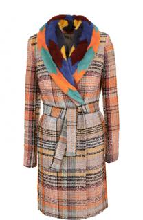 Буклированное пальто с поясом и отделкой из меха норки Missoni