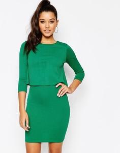 Облегающее платье с накладкой в рубчик River Island - Зеленый
