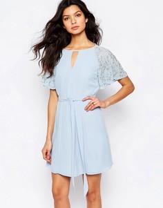 Платье мини с декорированными рукавами River Island - Синий