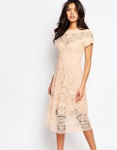 Кружевное платье миди River Island Premium - Розовый