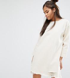 Джинсовое платье с рукавами 3/4 и рваной кромкой Waven Tall - Бежевый