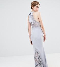 Свадебное кружевное платье макси с высокой горловиной и бантом сзади Jarlo - Серый