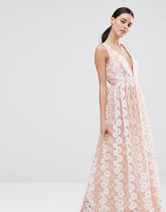 Платье макси с цветочным кружевом True Decadence Petite Premium - Розовый