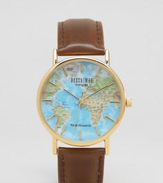 Классические часы с принтом атласа мира Reclaimed Vintage Inspired эксклюзивно для ASOS - Коричневый