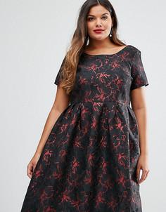 Платье миди из парчи Truly You - Черный