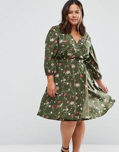 Платье с запахом и цветочным принтом Yumi Plus - Зеленый