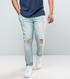 Голубые выбеленные джинсы суперскинни с рваными коленями ASOS PLUS - Синий