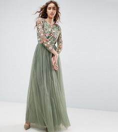 Платье макси с вышивкой и длинными рукавами Needle and Thread - Зеленый