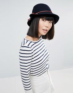 Темно-синяя шляпа с коричневым бантиком Genie by Eugenia Kim Eloise Bucket - Темно-синий