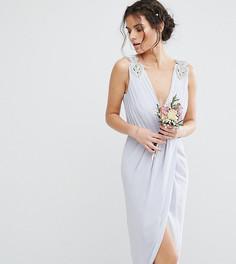 Платье миди с запахом и декоративной отделкой TFNC WEDDING - Синий