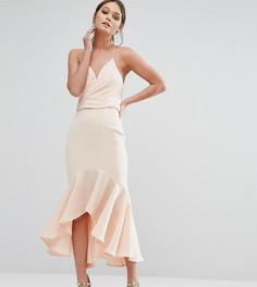 Платье миди с запахом и оборкой по краю Jarlo - Розовый