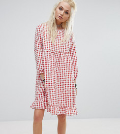Свободное платье в клетку с цветочным принтом Milk It Vintage - Красный