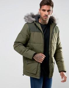Стеганое пальто с капюшоном Another Influence - Зеленый
