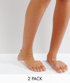 Комплект браслетов на ногу Pieces - Золотой