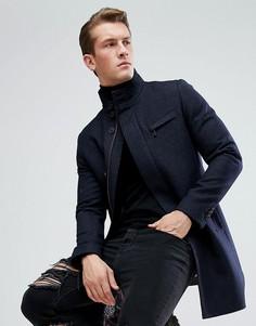 Пальто с высоким воротником Ted Baker - Темно-синий