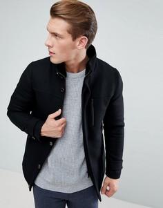 Пальто с воротником-стойкой и накладными карманами Ted Baker - Черный