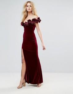 Бархатное платье макси с объемной цветочной отделкой City Goddess - Серый