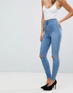 Голубые джинсы с завышенной талией ASOS RIVINGTON - Синий