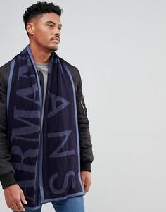 Темно-синий шарф из смешанной шерсти с логотипом Armani Jeans - Темно-синий