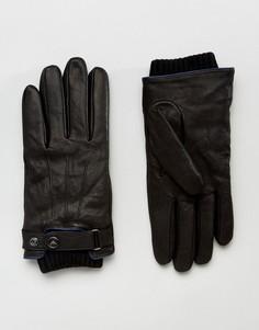 Черные кожаные перчатки Armani Jeans - Черный