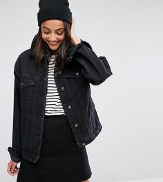 Черная выбеленная джинсовая куртка с воротником борг ASOS TALL - Черный