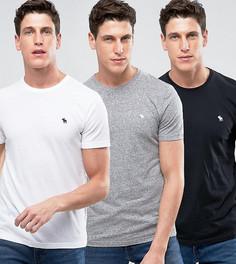 3 обтягивающие футболки с круглым вырезом (черная/белая/серая меланж) Abercrombie & Fitch - Скидка 25 - Мульти