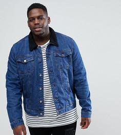 Джинсовая куртка с воротником из искусственного меха Another Influence PLUS - Синий