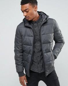 Дутая куртка с капюшоном Solid - Серый