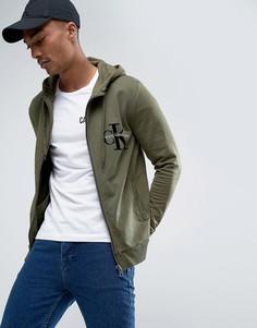 Худи с флоковым логотипом Calvin Klein - Зеленый