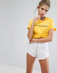 Футболка с принтом Great Personality Adolescent Clothing - Желтый