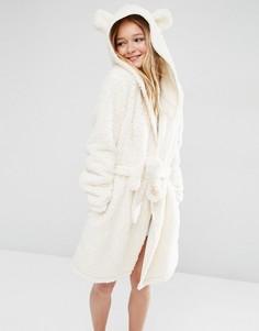 Пушистый халат с ушками ASOS - Кремовый